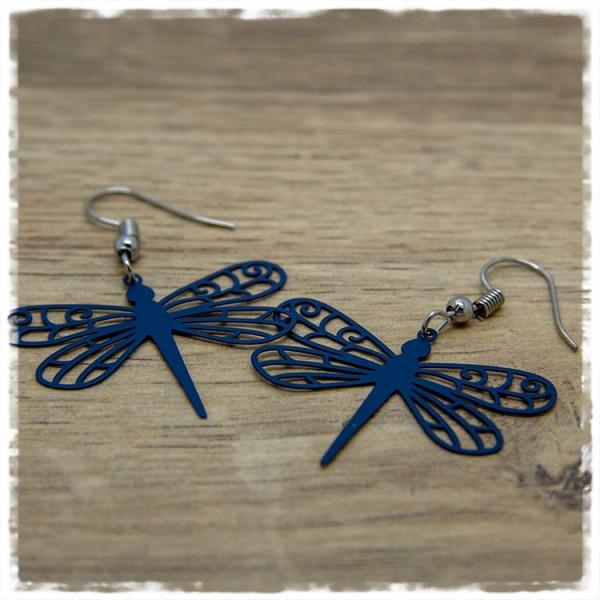 1 Paar Ohrhänger in 35 mm blaue Libelle