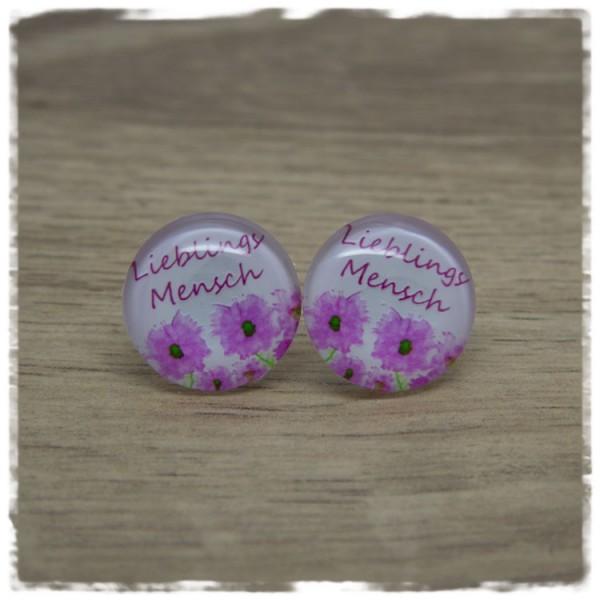 1 Paar Ohrstecker Lieblingsmensch mit pinken Blüten