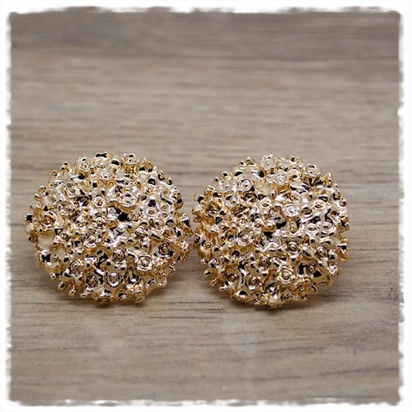 1 Paar Ohrstecker in 25 mm gold mit Strukur
