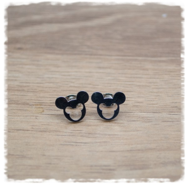 1 Paar Ohrstecker in 12 mm Mickey Mouse silbern