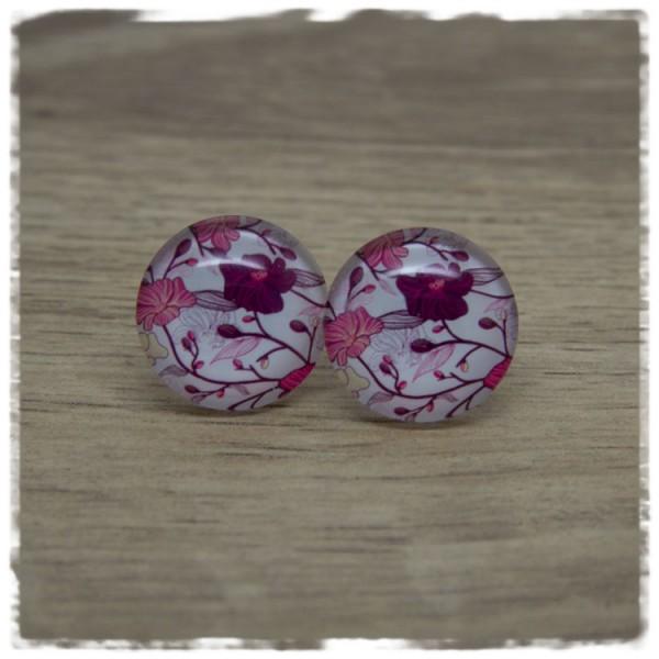 1 Paar Ohrstecker weiß mit pinken und rosafarbenen Blumen