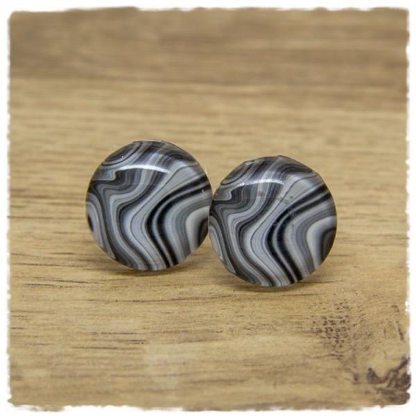 1 Paar Ohrstecker grau marmoriert
