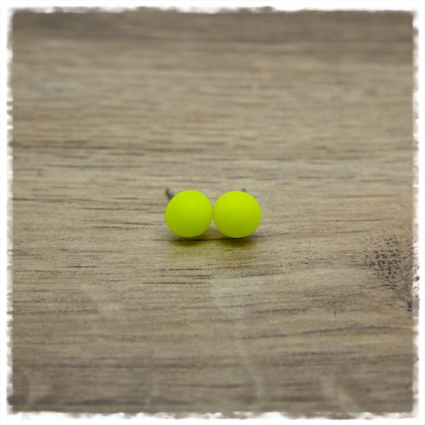 1 Paar Ohrstecker in 8 mm einfarbig matt gelb
