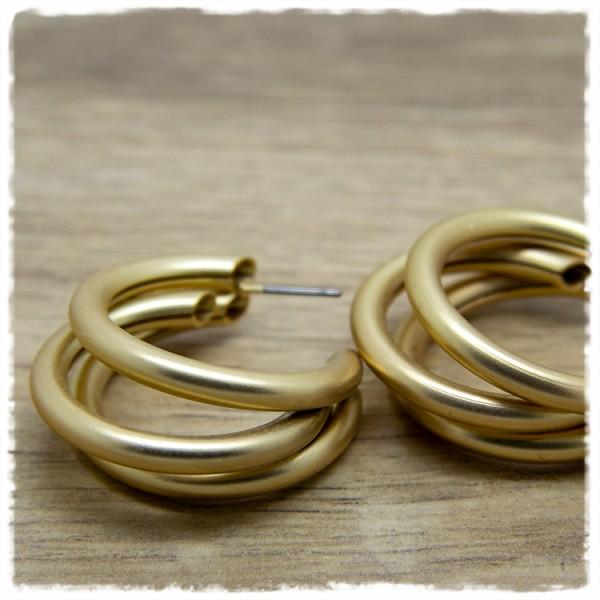 1 Paar Ohrringe in 30 mm rund matt golden