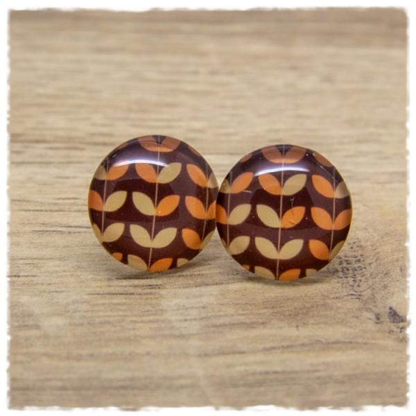 1 Paar Ohrstecker mit Muster in Brauntönen