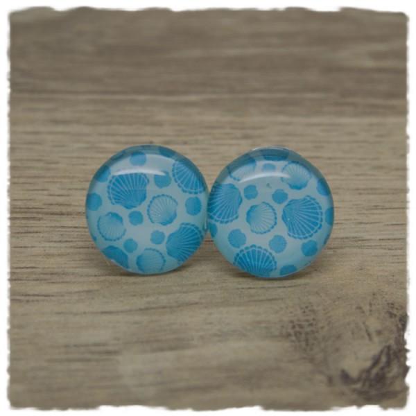1 Paar Ohrstecker in 20 mm hellblau mit Muscheln