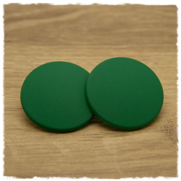 1 Paar flache Ohrstecker in 35 mm matt dunkelgrün