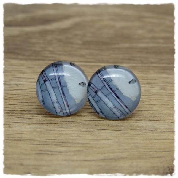 1 Paar Ohrstecker mit grau weißem Muster