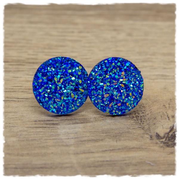1 Paar Glitzerohrstecker in 20 mm hellblau