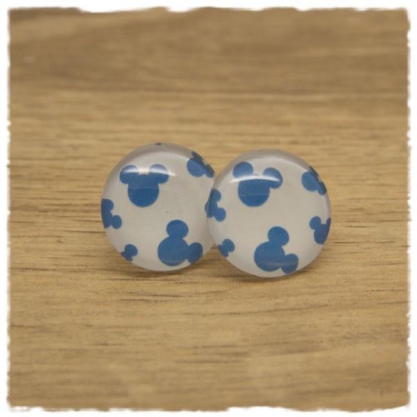 1 Paar Ohrstecker mit blauen Mäusen