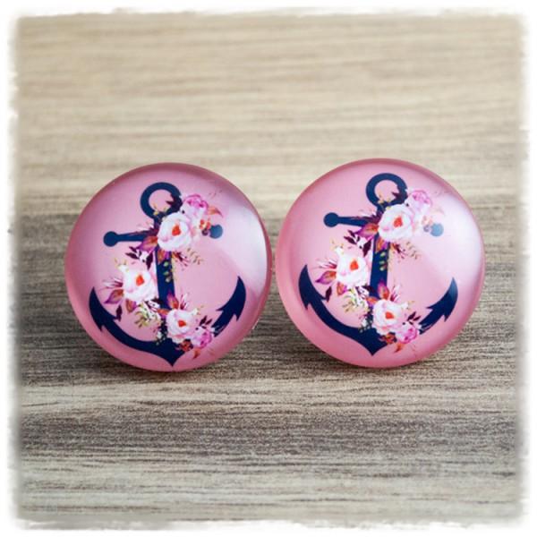 1 Paar Ohrstecker 25 mm mit schwarzem Anker und Blüten auf rosa Hintergrund (wahlweise als Ohrclips)