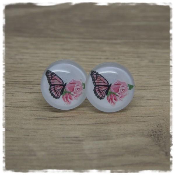 1 Paar Ohrstecker Schmetterling mit rosa Rosen