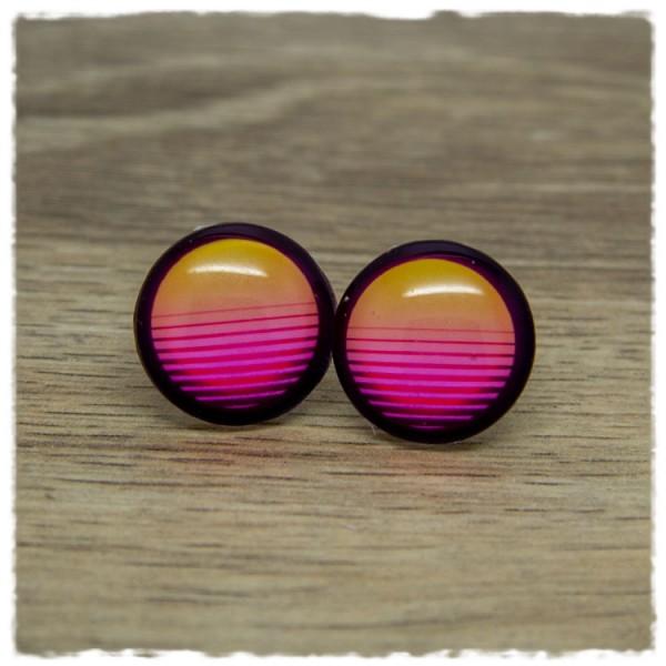 1 Paar Ohrstecker gelb pink mit Streifen