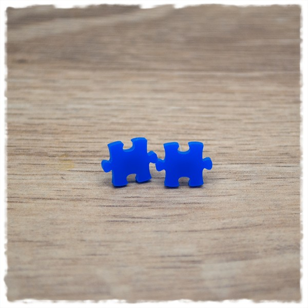 1 Paar Ohrstecker 10 mm Puzzleteil dunkelblau