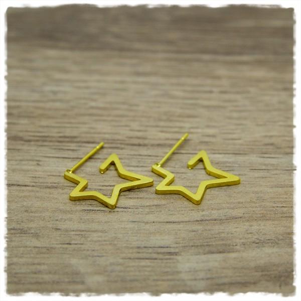 1 Paar Sternohrstecker in 16 mm golden