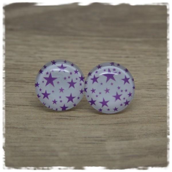 1 Paar Ohrstecker weiß mit lila Sternen