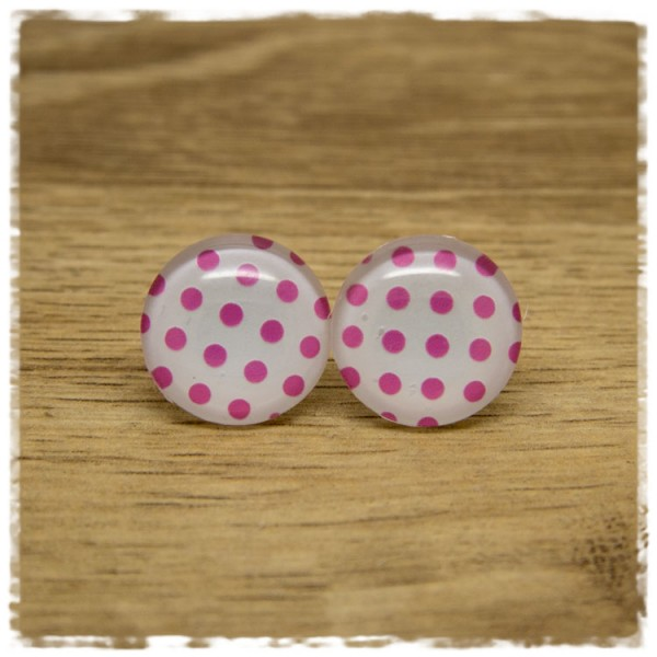 1 Paar Ohrstecker weiß mit rosa Punkten