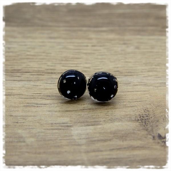 1 Paar Ohrstecker in 12 mm schwarzer Glitter