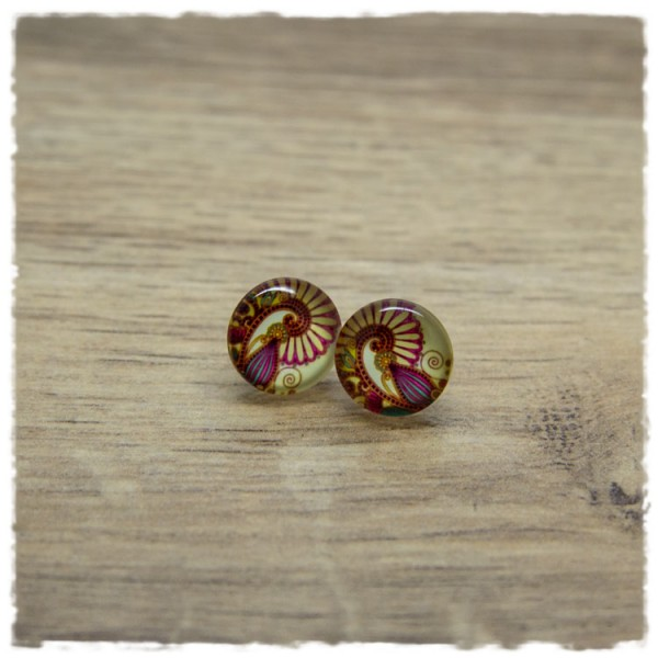 1 Paar Ohrstecker in 12 mm mit Paisleymuster