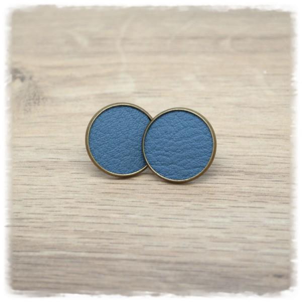 1 Paar Lederohrstecker blaugrau mit bronzener Fassung