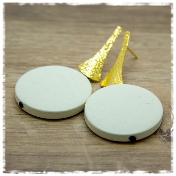 1 Paar Ohrhänger 30 mm in beige und golden strukturiert
