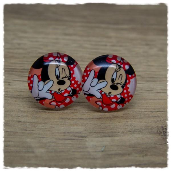 1 Paar Ohrstecker Maus mit rotem Kleid und roter Schleife