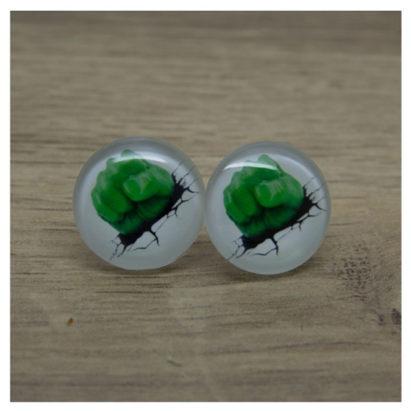 1 Paar Ohrstecker in 20 mm mit grüner Faust