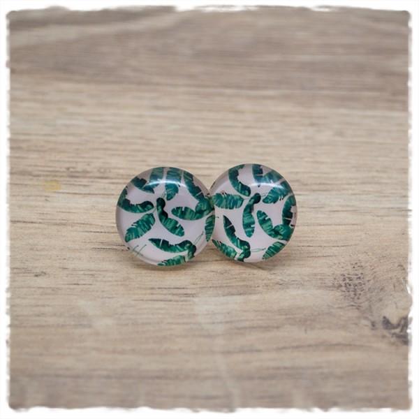 1 Paar Ohrstecker 18 mm mit grünen Federn