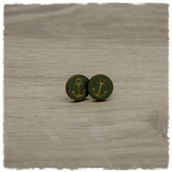 1 Paar Holzohrstecker in 12 mm dunkelgrün mit Anker
