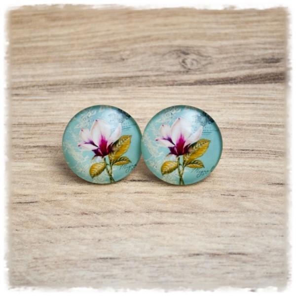 1 Paar Ohrstecker mit Blume auf grünem Hintergrund (wahlweise als Ohrclips)