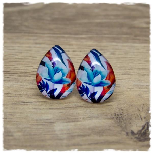 1 Paar große Ohrstecker in Tropfenform mit blauer Blüte