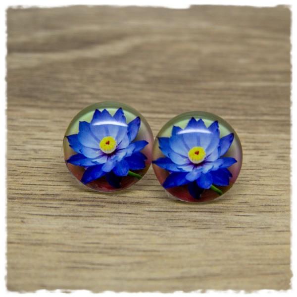 1 Paar Ohrstecker mit blauer Blüte