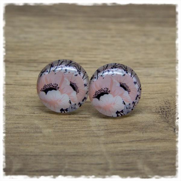 1 Paar Ohrstecker mit großen rosa Blüten