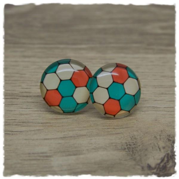 1 Paar Ohrstecker in 20 mm mit bunten Hexagons