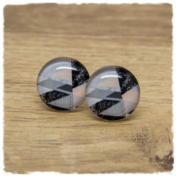 1 Paar Ohrstecker schwarz marmoriert mit rosa und grauem Muster