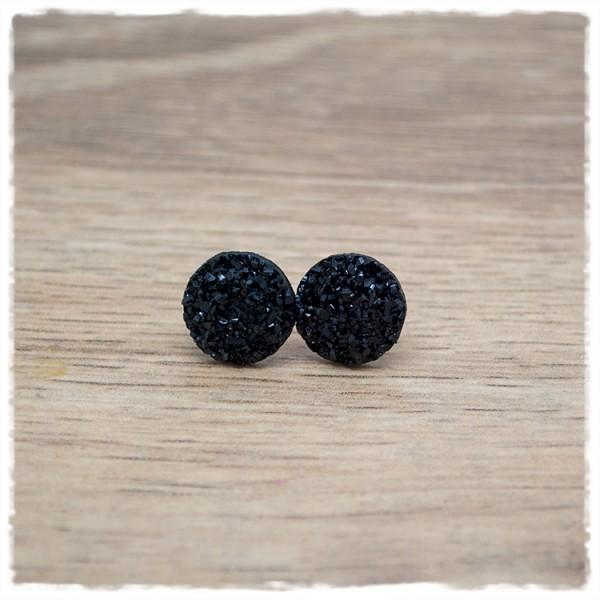 1 Paar Glitzerohrstecker in 12 mm schwarz