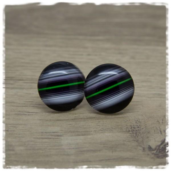 1 Paar Ohrstecker schwarz mit grünem und grauen Streifen
