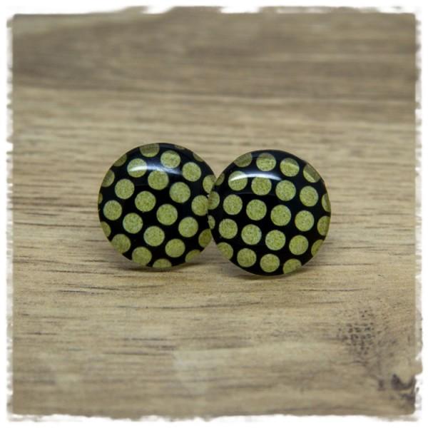 1 Paar Ohrstecker schwarz mit goldenen Punkten