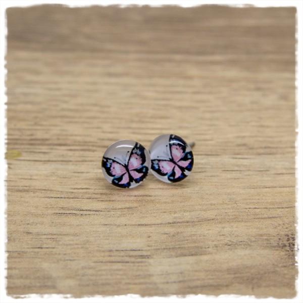 1 Paar Ohrstecker in 10 mm mit rosa Schmetterling