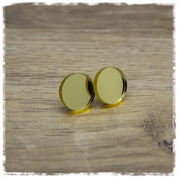 1 Paar Ohrstecker 14 mm spiegelnd golden