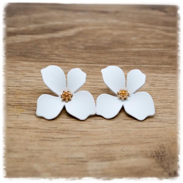 1 Paar Ohrstecker in 25 mm weiße Blüte