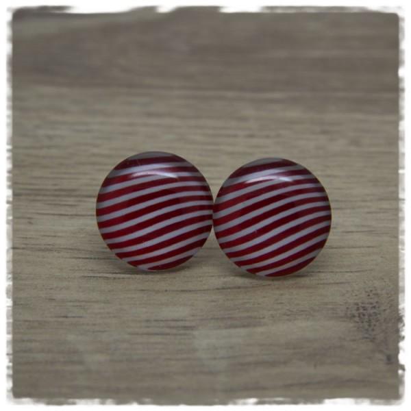 1 Paar Ohrstecker mit rot weißen Streifen