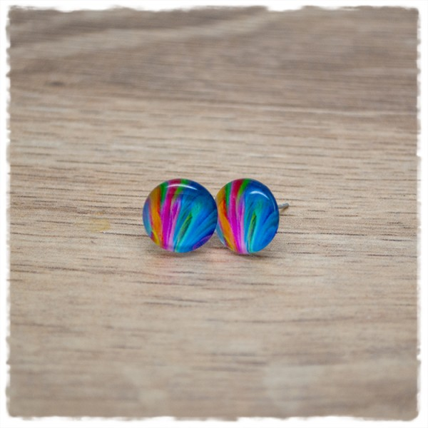 1 Paar Ohrstecker in 12 mm mit multicolor Muster