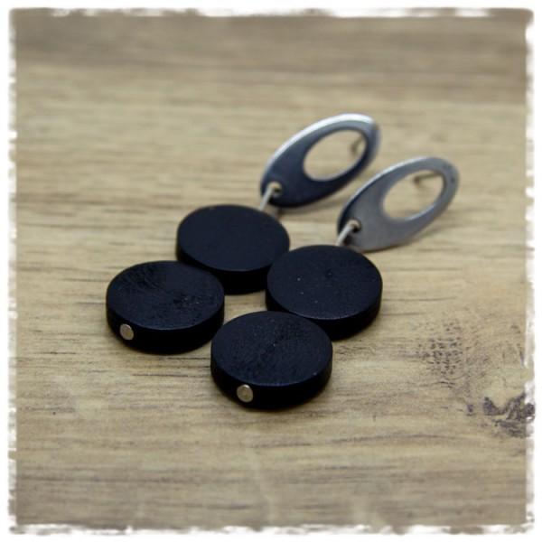 1 Paar Ohrhänger 30 mm in schwarz und silbern