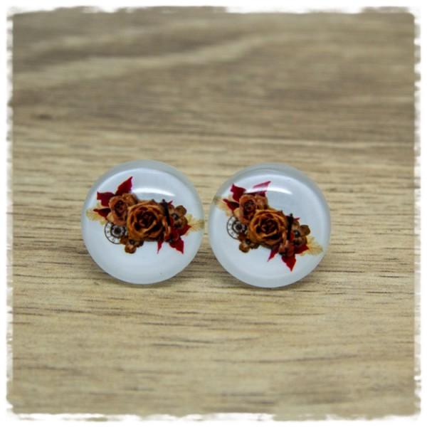 1 Paar Ohrstecker in 20 mm mit Rosen auf weißem Hintergrund