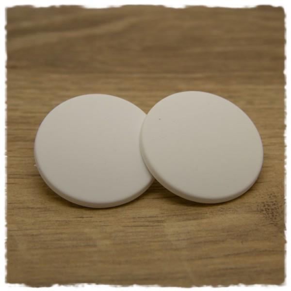 1 Paar flache Ohrstecker in 35 mm matt weiß