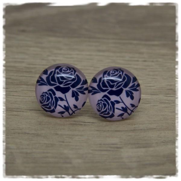 1 Paar Ohrstecker rosa mit blauen Rosen