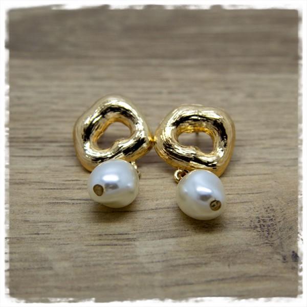 1 Paar Ohrhänger in 40 mm golden mit ovaler Perle