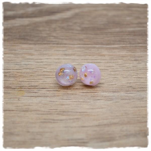 1 Paar Ohrstecker in 10 mm mit rosa mit goldenem Glitter