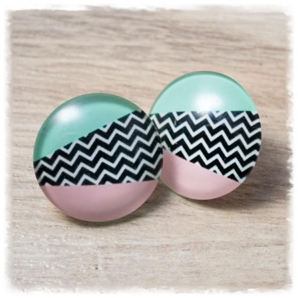 1 Paar Ohrstecker 25 mm schwarz weiß gezackt mit rosa und grünen Streifen (wahlweise als Ohrclips)